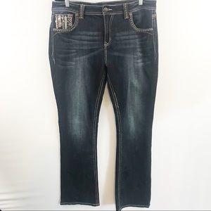 Grace Embellished Dark Wash Boot Cut Jean  Size 34